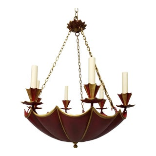 20th Century French Red Tole Upside Down Umbrella Chandelier For Sale