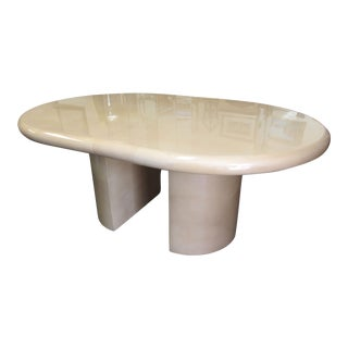 Karl Springer Style Lacquered Goat Skin Expanding Table For Sale