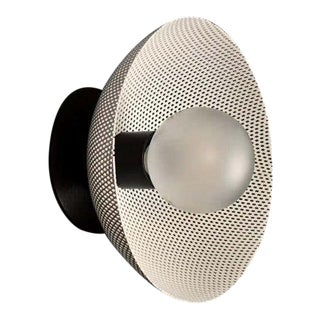 Centric Wall Sconce in White Enamel Mesh & Oil-Rubbed Bronze by Blueprint Lighting For Sale