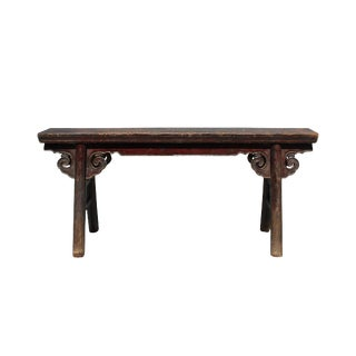 Vintage Chinese Slim Carving Apron Wood Seating Bench