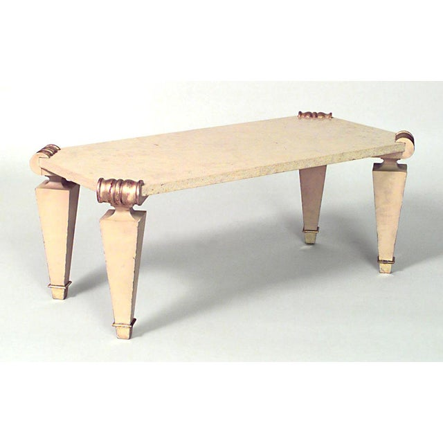 French French 1940s Rectangular Ormolu and Travertine Marble Coffee Table For Sale - Image 3 of 3