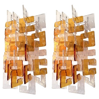 Pair of Sconces by Carlo Nason for Mazzega Murano, 1970s, Italy For Sale