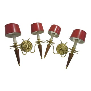 Art Deco Red Tole Shade Double Socket Brass Sconces - a Pair For Sale