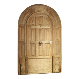 Arched Antique French Oak Entry Door With Frame, 19th Century For Sale