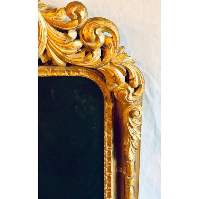 Gold Large Carved Rococo Wall / Console Mirror W. Grape and Scroll Design For Sale - Image 8 of 12