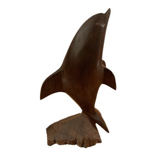 Vintage Ironwood Sculpture of a Dolphin For Sale