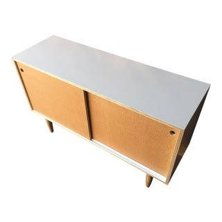 Custom Mid Century Style Lacquered Credenza with Sliding Cork Doors