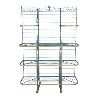 Antique Brass & Iron Verdigris French Bakers Rack Scrolled Etagere For Sale