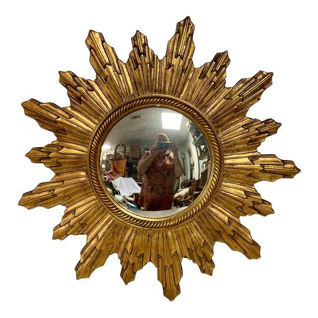 Carved Italian Hollywood Regency Sunburst Mirror For Sale