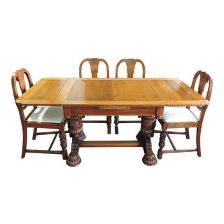 Antique English Tiger Oak Library / Refractory, Dining Table Set & Four Dining Chairs For Sale