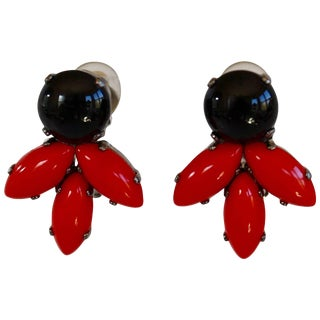 Philippe Ferrandis for Jacques Fath Black and Red Clip Earrings For Sale
