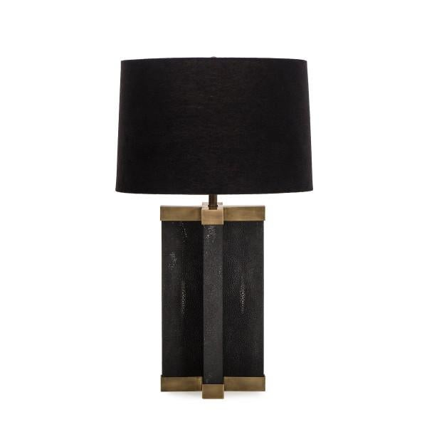 Animal Skin Black Shagreen Lamp With Black Shade For Sale - Image 7 of 7