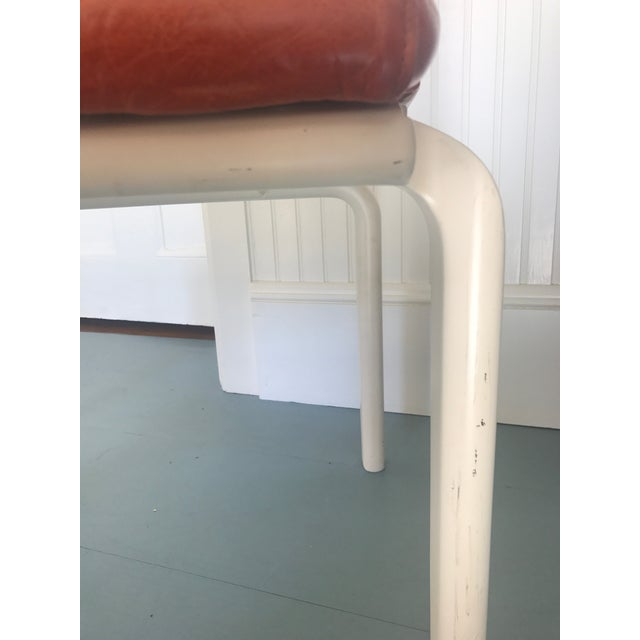 Stylish set of vintage 1960s Italian side chairs with white painted legs and outer back. Upholstered in new high end Moore...