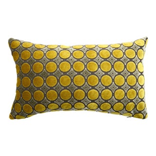 Italian FirmaMenta Yellow and Gray Luxurious Polka Dot Velvet Lumbar Pillow For Sale