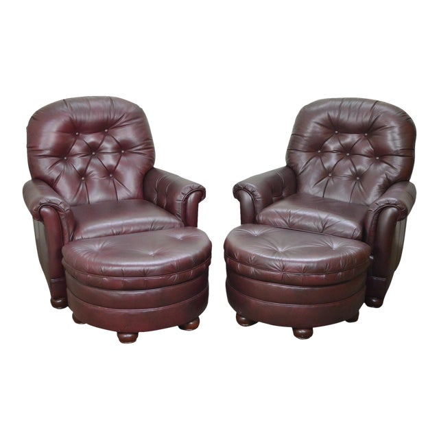 Bradington Young Oxblood Leather Tufted Recliner Club Chairs W Ottomans A Pair