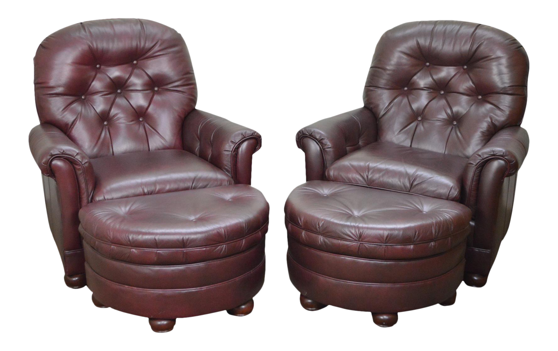 Attrayant Bradington Young Oxblood Leather Tufted Recliner Club Chairs W/ Ottomans    A Pair