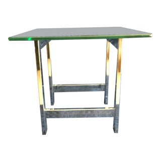 1970s Mid-Century Modern Glass Top and Chrome Legs End Table For Sale