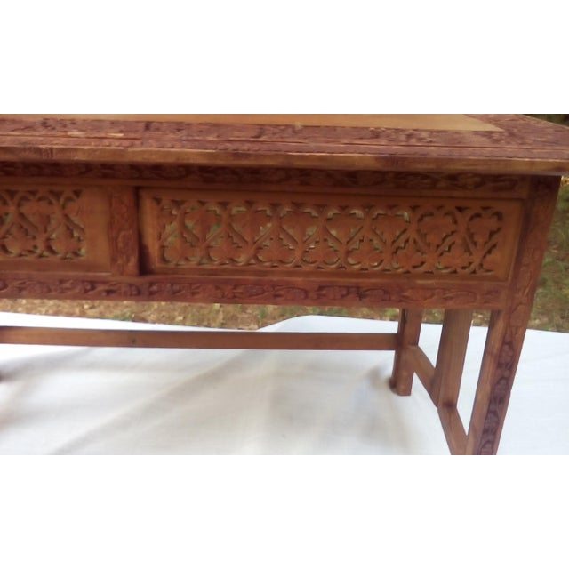 Mid Century Hand Carved Teak Wood Coffee Table | Chairish