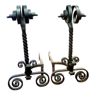 Antique Wrought Iron Andirons For Sale