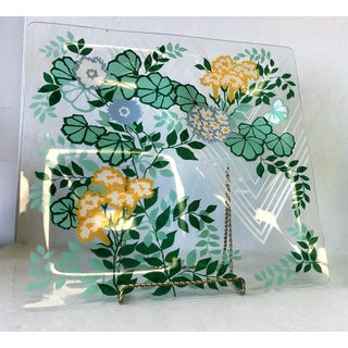 1960s Georges Briard Multi Colored Floral 4 Compartment Glass Serving Dish Preview
