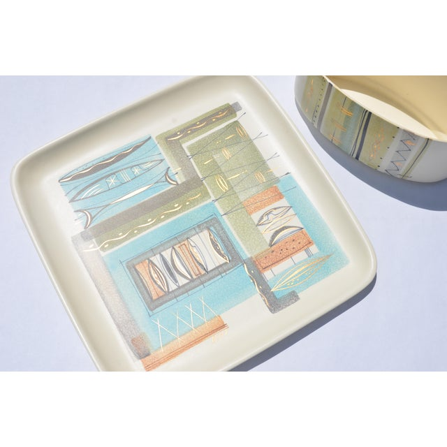 A vintage 1950's Sascha Brastoff ceramic tray and a matching ceramic planter are a great find for any collectors of Mid-...