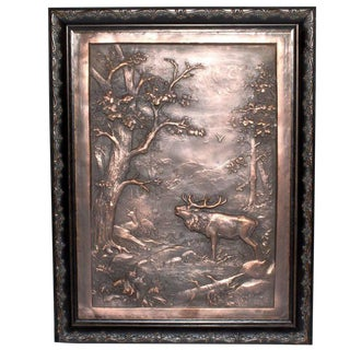 """German Copper """"The King's Stag in Roar"""" Bas Relief"""