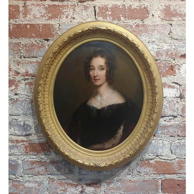"Black George Healy ""Portrait of a Beautiful Aristocratic Lady"" Oil Painting, 19th Century For Sale - Image 8 of 8"