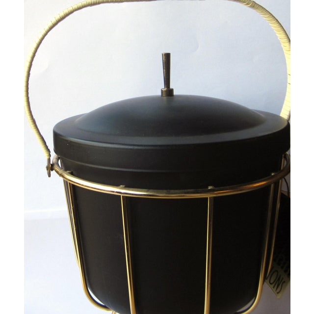 Ernest Sohn Vintage 1950s Ernest Sohn Creations Matte Black and Gold Ice Bucket For Sale - Image 4 of 10