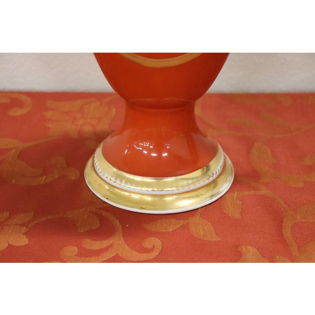 1920s 20th Century French Empire Style Hand Painted Red Ceramic Amphora Vase, 1920s For Sale - Image 5 of 13