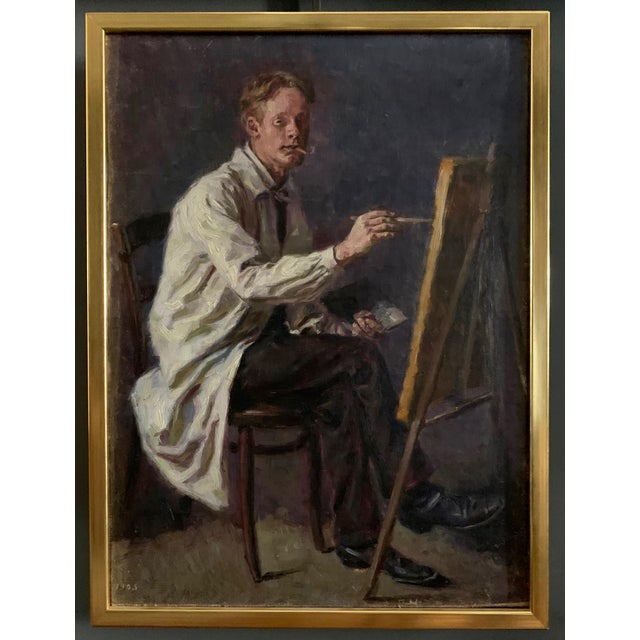 C1905 Artist Self Portrait Painting, Illegibly Signed For Sale - Image 9 of 9