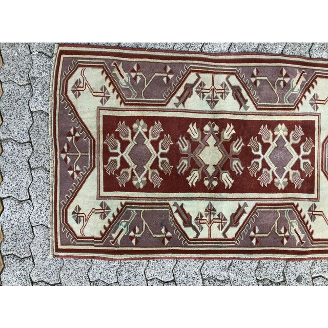 Brick Red 1970s Vintage Turkish Oushak Handmade Small Rug - 2′8″ × 4′2″ For Sale - Image 8 of 11