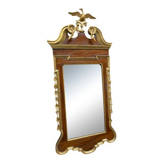 19th Century Federal Style Gilded Mahogany Wall Mirror With Phoenix Crest For Sale