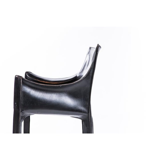 """Authentic Mario Bellini for Cassina chairs in black leather. Vintage. Good condition 31""""h x 23""""w x 18""""d"""