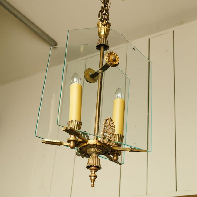 French Classic Brass and Glass Lantern For Sale - Image 10 of 12