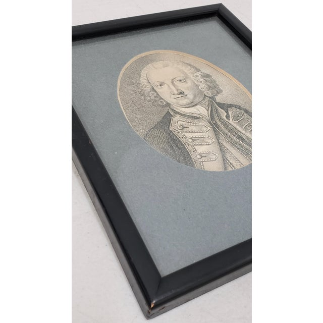 Portraiture Lord Anson First Lord of the Admiralty Miniature Portrait Engraving 18th to 19th C. For Sale - Image 3 of 5