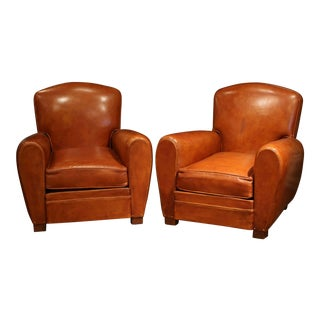 Pair of Early 20th Century French Club Armchairs With Original Brown Leather For Sale