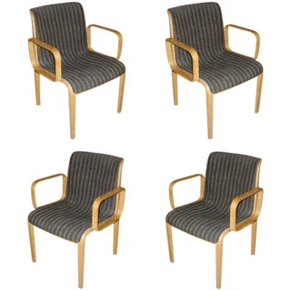Set of Four Knoll Arm Chairs With Original Upholstery For Sale