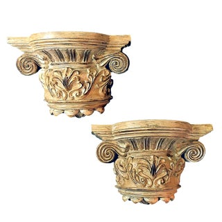Vintage Cast Polyresin Thick Antique-Blonde Capital Wall Shelves or Bookends - a Pair For Sale