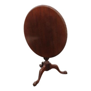 Early 1900s Mahogany Carved Round Tilt Top Claw Feet Center Side Table For Sale