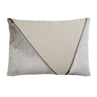 """Piper Collection Natural Cotton and Cowhide """"Henry"""" Pillow For Sale"""