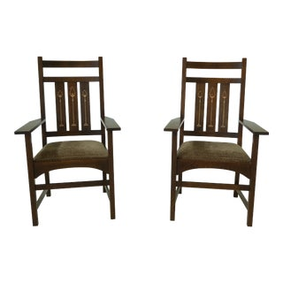 Pair Stickley Harvey Ellis Design Mission Oak Arm Chairs For Sale