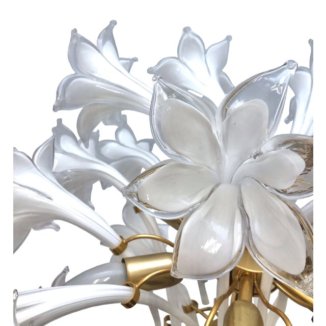 Brass and White Murano Lily Chandelier For Sale - Image 12 of 12