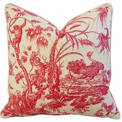 French Marius Boudin Toile & Linen Pillow - Image 1 of 7