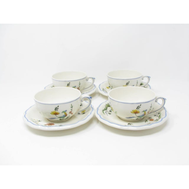 Vintage Oiseau De Paradis by Faiencerie De Gien cups and saucers with bird and floral design and scalloped rim. This 8...