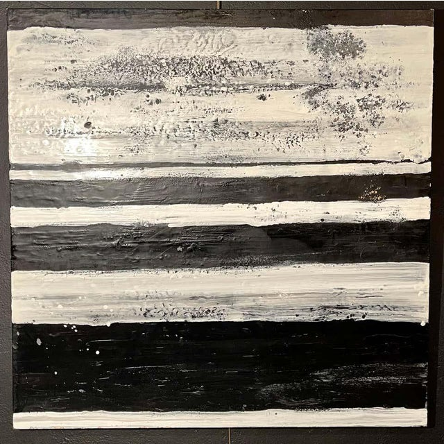 """Encaustic Lynn Basa Encaustic Black and White Stripe Panel """"The Speckled Band"""" 2013 For Sale - Image 7 of 11"""