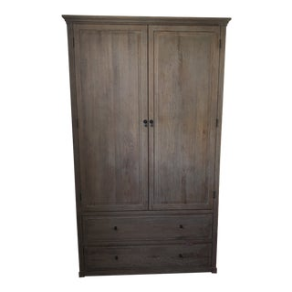 Restoration Hardware Louis XVI Oak Armoire For Sale
