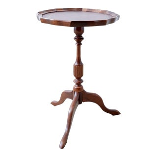 Mahogany Pie Crust Tooled Leather Tripod Side Table For Sale
