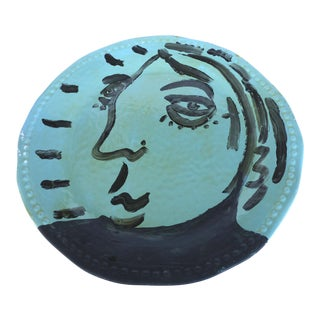80's Peter Keil Painted Faces Plate, Palma De Mallorca, Spain For Sale