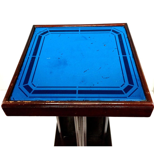 Art Deco Cobalt Blue Glass Mirror Side Accent Table For Image 4 Of 8