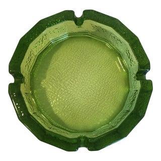 Vintage Large Green Blenko Glass Ashtray For Sale